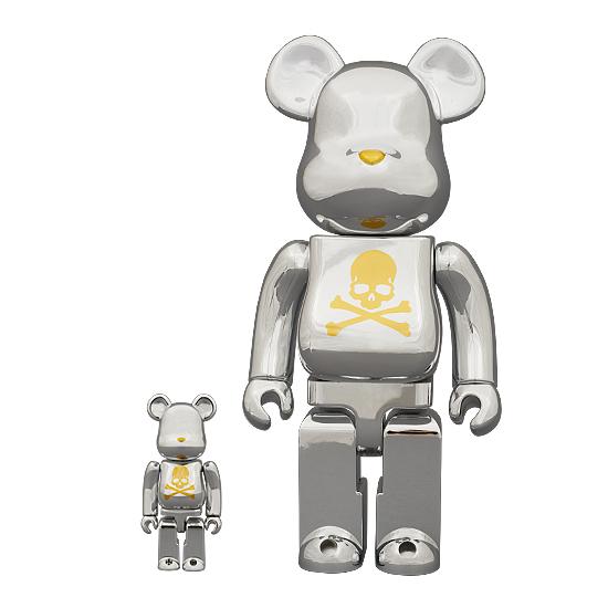 Mastermind JAPAN (마스터 마인드 재팬) × MEDICOM TOY (メディコムトイ) BE @ RBRIC CHROME SILVER 400% × 100% 세트