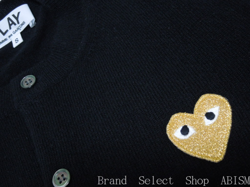 Womens Size PLAY COMME Des GARCONS Play Comme Garcons Gold Heart Wool Cardigan