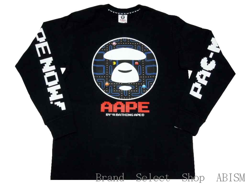 ea143837984 AAPE BY A BATHING APE (EAP by bathing APE) AAPE X PACMAN l s TEE  Black    PAC-man and PAC-man   Tshirt   long T shirt   Long sleeve   New