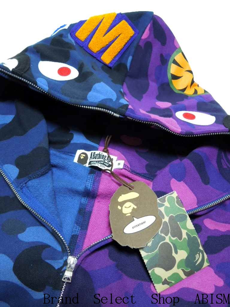 A BATHING APE (APE) COLOR CAMO HALF & HALF SHARK FULL ZIP HOODIE shark full zip hoodies BAPE (BAPE)