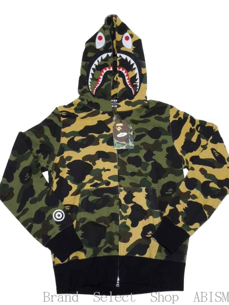 Bathing Ape Bape Camo Shark Men Jacket FULL ZIP Camouflage Hoodie Coat Sweater