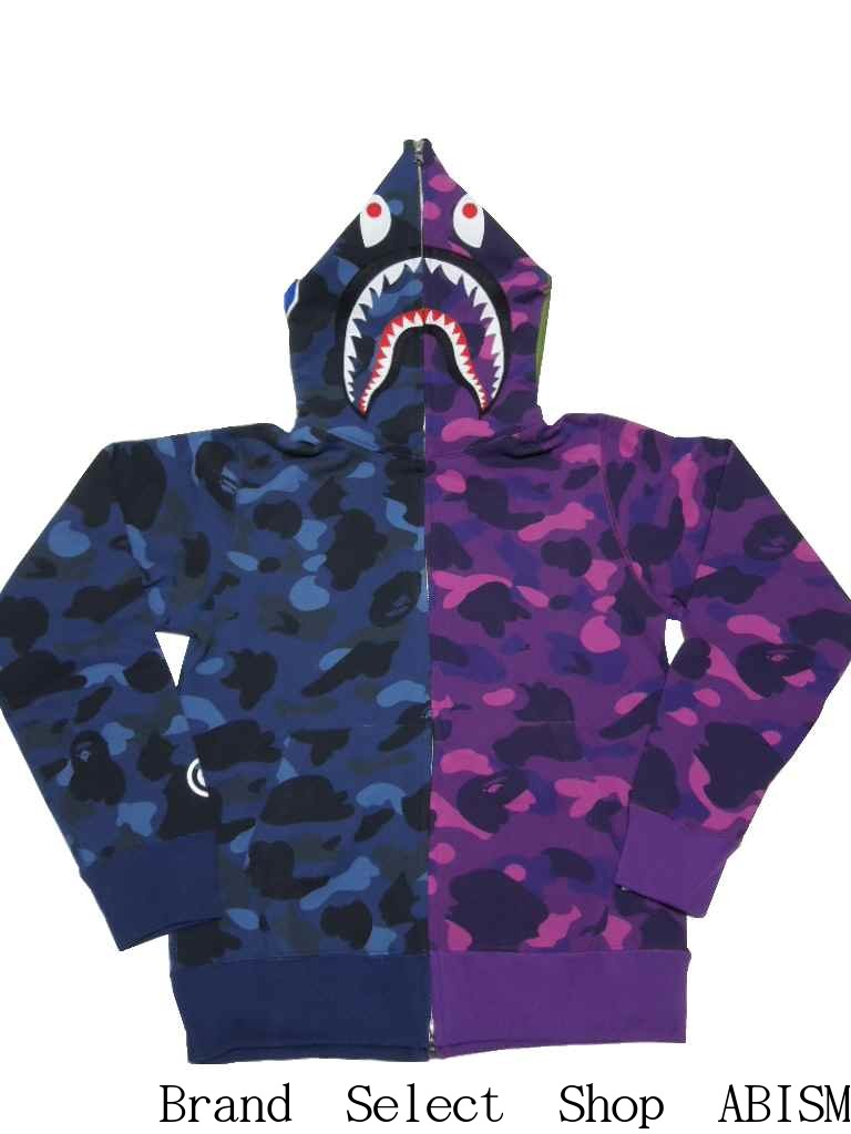 86be001d A BATHING APE (エイプ) COLOR CAMO HALF & HALF SHARK FULL ZIP HOODIE Shark full  zip parka [navy X purple CAMO] [product made in Japan] [new article] BAPE  ...