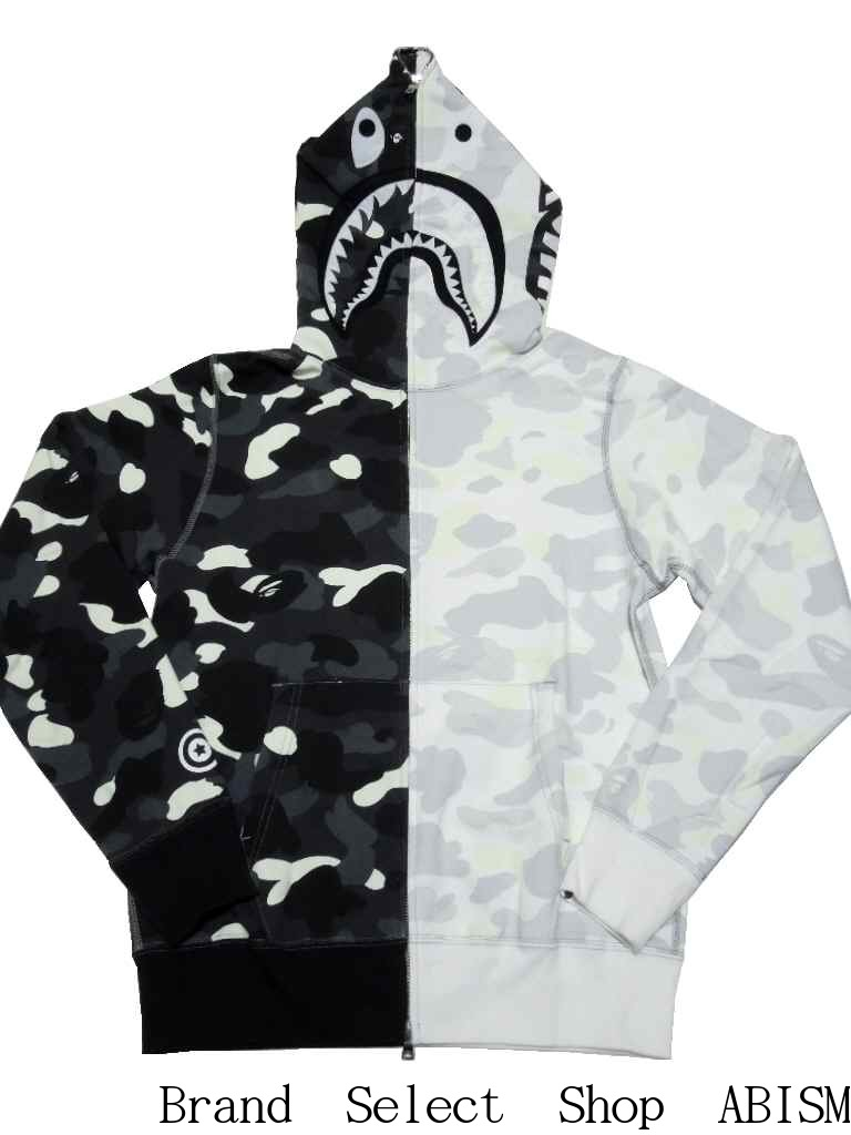 70c2545f3a75 A BATHING APE (エイプ) CITY CAMO HALF SHARK FULL ZIP HOODIE Shark full zip  parka  black X white CAMO   2016SS   product made in Japan   new article   BAPE ...