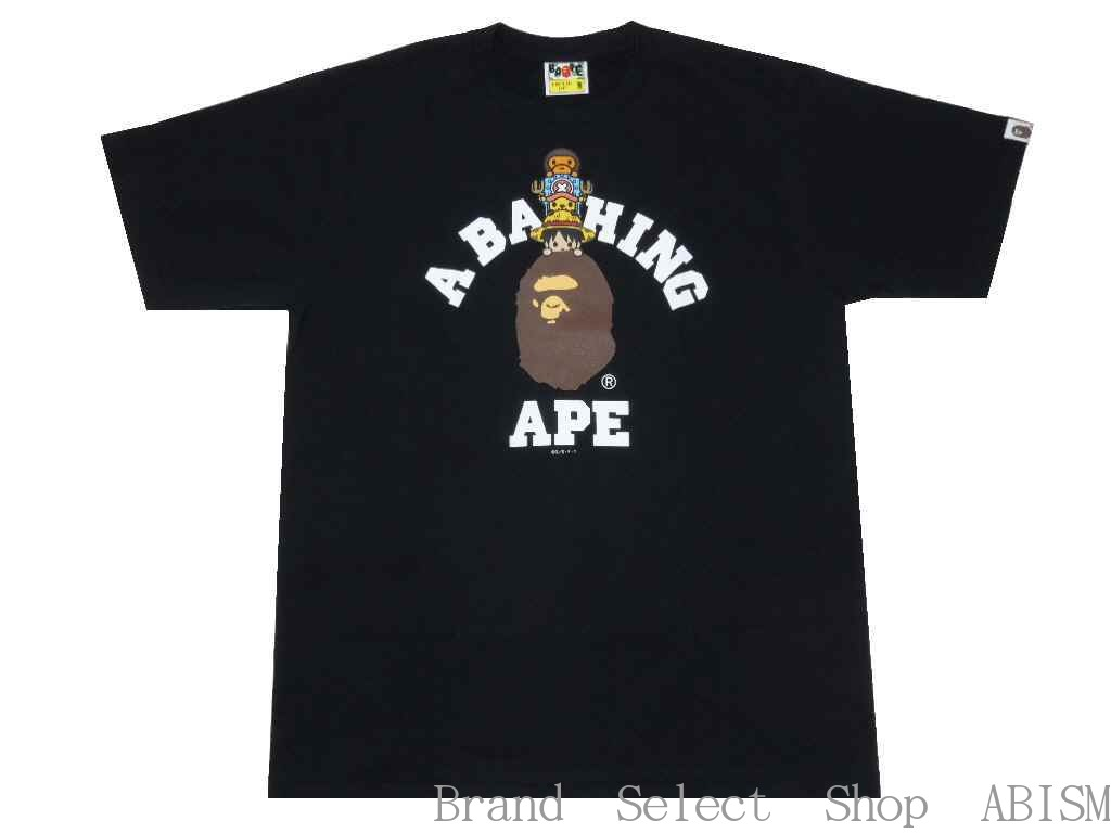 d834c40f X ONE PIECE (dress) LUFFY & CHOPPER X MILO COLLEGE TEE (ルフィ + chopper +  milo) [T-shirt] [black] [new article] [product made in Japan] [BAPE/ ベイプ]