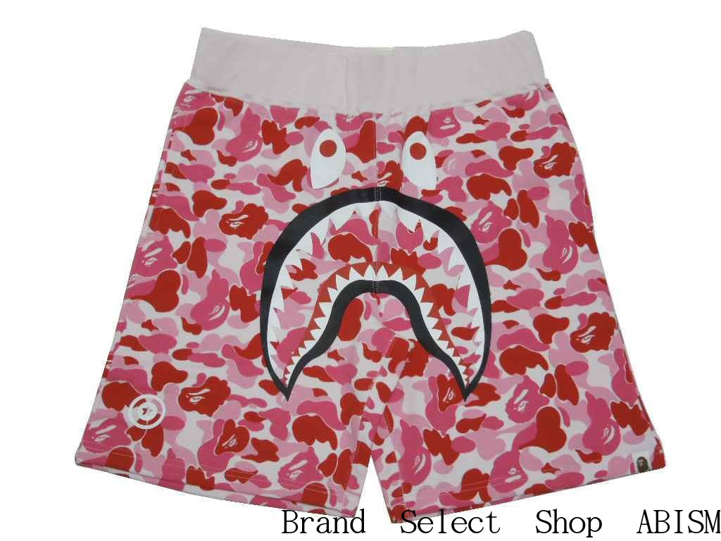 b06bf5943851  collect on delivery impossibility  A BATHING APE (エイプ) ABC SHARK SWEAT  SHORTS Shark sweat shirt shorts  pink CAMO   new article   product made in  Japan