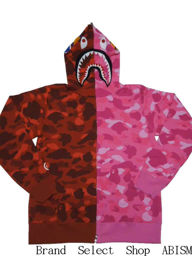 A BATHING APE (エイプ) COLOR CAMO HALF   HALF SHARK FULL ZIP HOODIE Shark full  zip parka  red X pink CAMO   product made in Japan   new article  BAPE ... 046bb55299b9