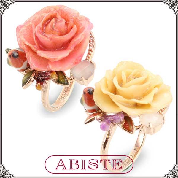 【送料無料】 ABISTE(アビステ) 小鳥&フラワーリング/イエロー、ピンク 6401016 レディース 女性 人気 上品 大人 かわいい おしゃれ アクセサリー ブランド 誕生日 ギフト プレゼント ラッピング無料
