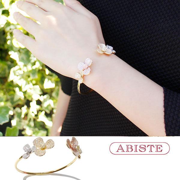 ABISTE(アビステ)キュービックジルコニアフラワーモチーフバングル 4181001G レディース キラキラ アクセサリー エレガント 結婚式 二次会 パーティー華やか 送料無料