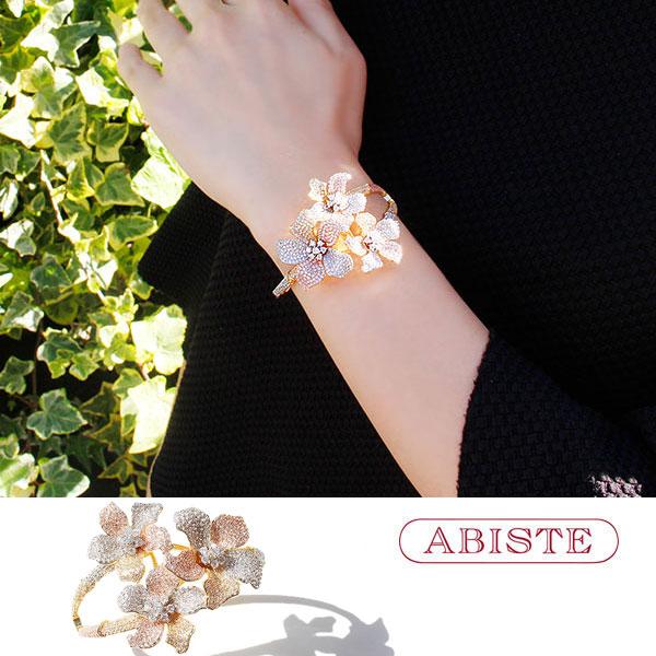 ABISTE(アビステ)キュービックジルコニアフラワーラインバングル 4181004G レディース キラキラ アクセサリー エレガント 結婚式 二次会 パーティー華やか 送料無料