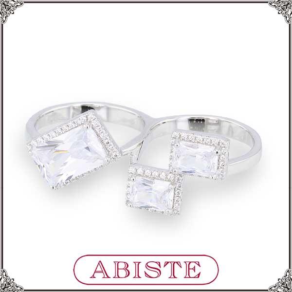 【送料無料】 ABISTE(アビステ) シルバー925×ジルコニアビジューツインリング/シルバー 6150086 レディース 女性 人気 上品 大人 かわいい おしゃれ アクセサリー ブランド 誕生日 ギフト プレゼント ラッピング無料