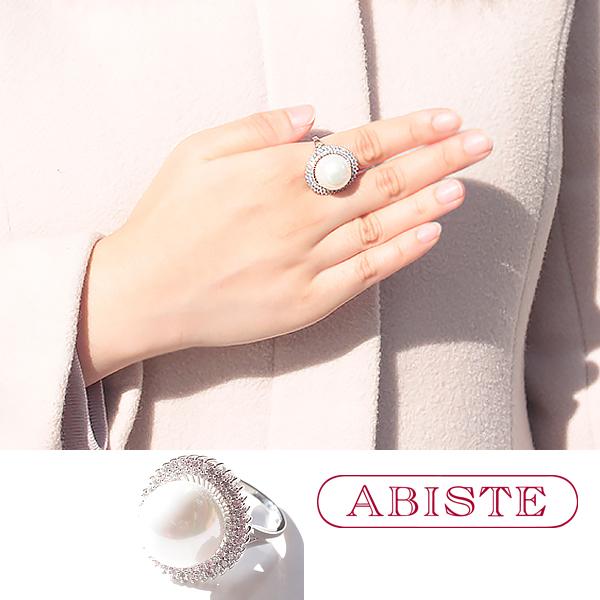 ABISTE(アビステ) キュービックジルコニアパールデザインリング 6191015 アクセサリー ハンドメイド 人気 大人 かわいい おしゃれ ブランド 誕生日 ギフト プレゼント ラッピング無料 20代 30代 40代