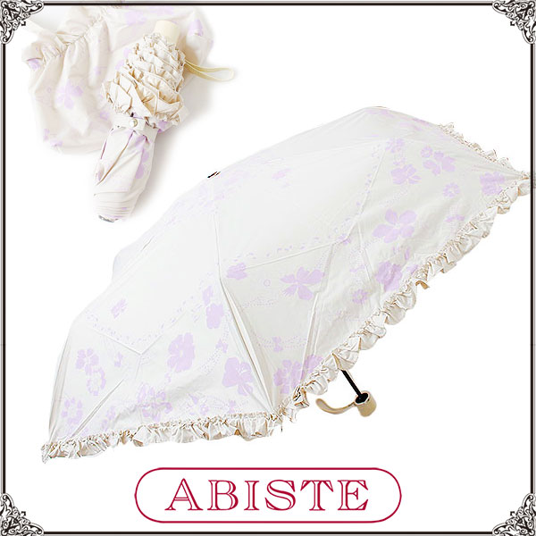 ABISTE(アビステ) フラワー&リボンモチーフオリジナル晴雨兼用折り畳み傘/Lグレー 2145010LG レディース 女性 人気 上品 大人 かわいい おしゃれ アクセサリー ブランド 誕生日 ギフト プレゼント ラッピング無料