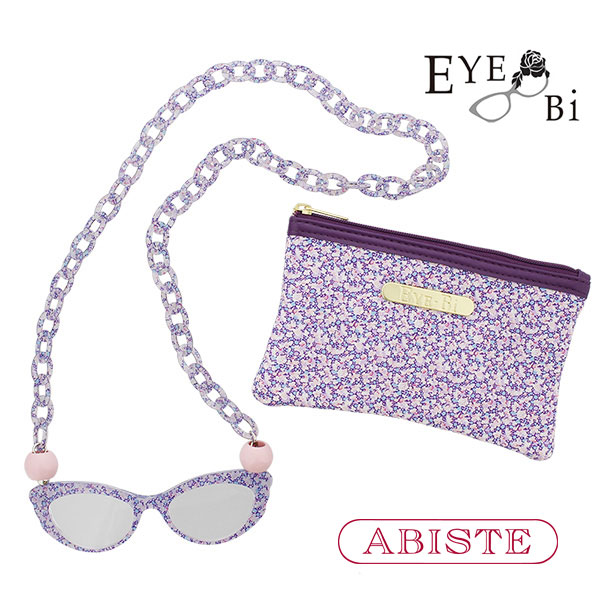 ABISTE(アビステ)【Eye-Bi】リバティプリント(ペッパー)リーディンググラスネックレス&ポーチセット/パープル 7160030 レディース 女性 ブランド 誕生日 ギフト