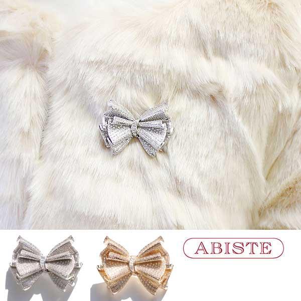 ABISTE(アビステ)キュービックジルコニアリボンモチーフブローチ 5181076 レディース 女性 人気 上品 大人 かわいい おしゃれ キラキラ アクセサリー ブランド 誕生日 ギフト 30代 40代