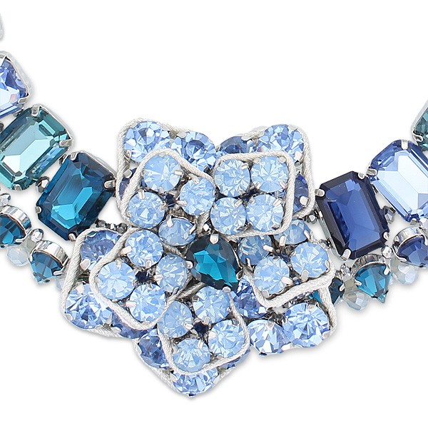 送料無料 ABISTE アビステ ガラスビジューフラワーネックレス ブルー1150022レディース 女性 人気 上品 大人OkZPiuwXT