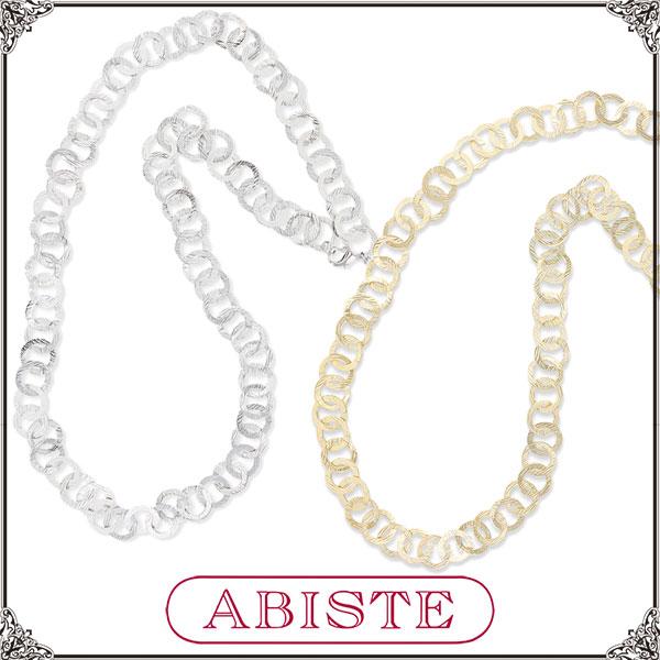 【送料無料】ABISTE(アビステ)デザインメタルチェーンロングネックレス/シルバー、ゴールド1150164 レディース 女性 人気 上品 大人 かわいい おしゃれ アクセサリー ブランド 誕生日 ギフト プレゼント ラッピング無料