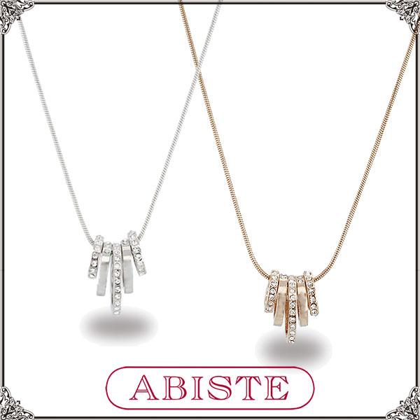 ABISTE(アビステ)5連リングモチーフクリスタルネックレス/シルバー、ピンクゴールド1150259 レディース 女性 人気 上品 大人 かわいい おしゃれ アクセサリー ブランド 誕生日 ギフト プレゼント ラッピング無料