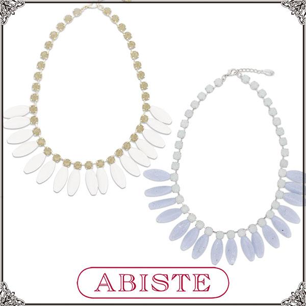 【送料無料】ABISTE(アビステ)イタリア製ガラスビジューショートネックレス/ホワイト、ブルー1150463 レディース 女性 人気 上品 大人 かわいい おしゃれ アクセサリー ブランド 誕生日 ギフト プレゼント ラッピング無料