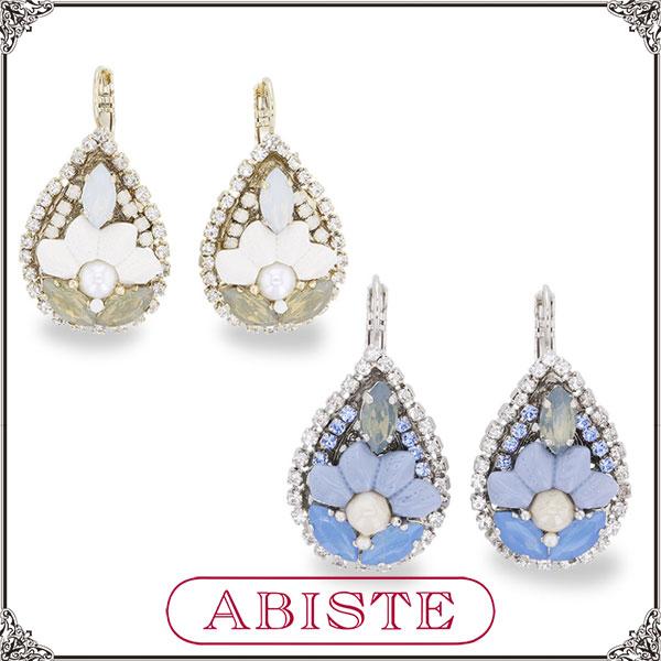 ABISTE(アビステ) イタリア製ドロップビジューピアス/ホワイト、ブルー 3150268- レディース 女性 人気 上品 大人 かわいい おしゃれ アクセサリー ブランド 誕生日 ギフト プレゼント ラッピング無料