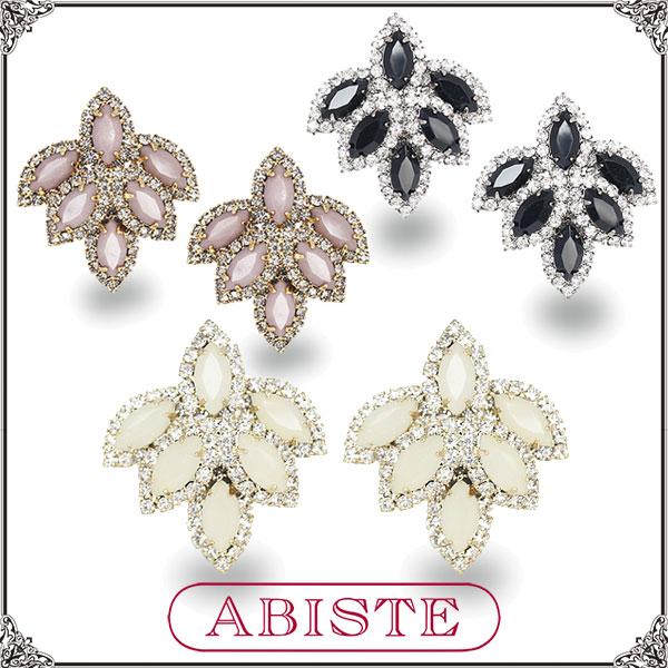 【送料無料】ABISTE(アビステ) ビジューイヤリング/ホワイト、ブラウン、ブラック 3400030 レディース 女性 人気 上品 大人 かわいい おしゃれ アクセサリー ブランド 誕生日 ギフト プレゼント ラッピング無料