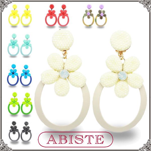 ABISTE(アビステ) イタリア製フラワーロングイヤリング/ホワイト、イエロー、レッド、パープル、Lブルー、ブルー、グリーン、ブラック 3400118 レディース 女性 人気 上品 大人 かわいい おしゃれ アクセサリー ブランド ギフト プレゼント