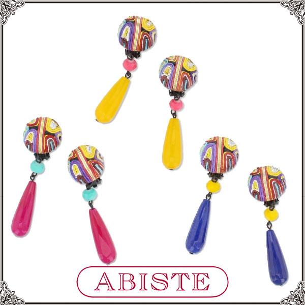 【送料無料】ABISTE(アビステ) オリエンタル風ロングイヤリング/イエロー、ピンク、ブルー 3400378 レディース 女性 人気 上品 大人 かわいい おしゃれ アクセサリー ブランド 誕生日 ギフト プレゼント ラッピング無料