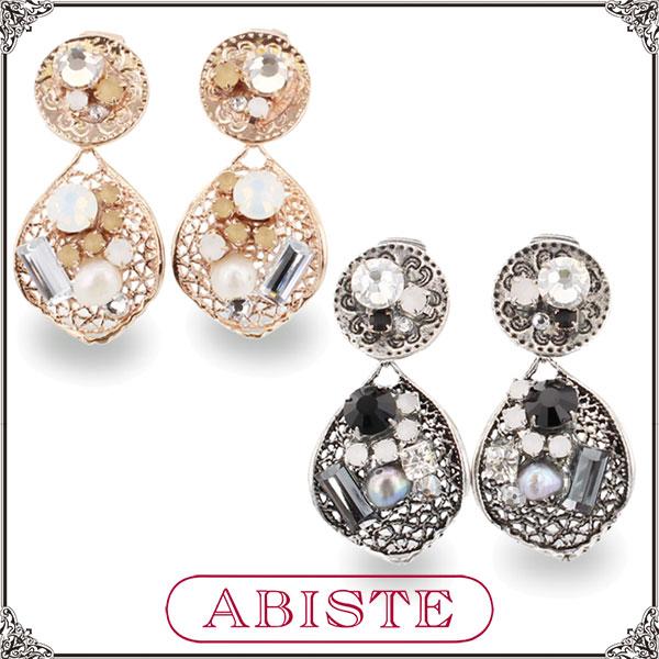 ABISTE(アビステ) デザインメタルイヤリング/Lブラウン、ブラック 3401078 レディース 女性 人気 上品 大人 かわいい おしゃれ アクセサリー ブランド 誕生日 ギフト プレゼント ラッピング無料