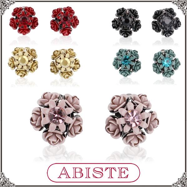 ABISTE(アビステ) イタリア製ローズフラワーイヤリング/ゴールド、ピンク、レッド、ブルー、ブラック 3401169 レディース 女性 人気 上品 大人 かわいい おしゃれ アクセサリー ブランド 誕生日 ギフト プレゼント ラッピング無料