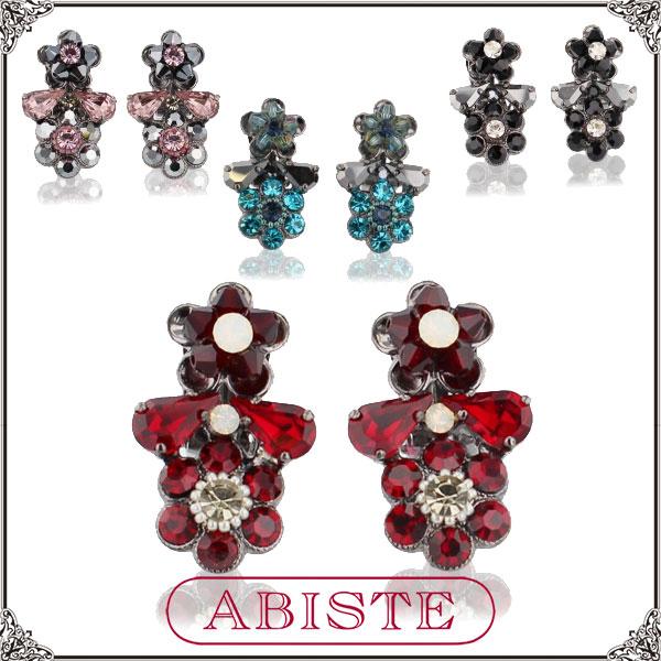 ABISTE(アビステ) イタリア製ダブルフラワーイヤリング/ピンク、レッド、ブルー、ブラック 3401170 レディース 女性 人気 上品 大人 かわいい おしゃれ アクセサリー ブランド 誕生日 ギフト プレゼント ラッピング無料