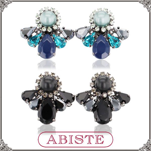 ABISTE(アビステ) イタリア製クリスタルビジューボタンイヤリング/ブルー、ブラック 3401171 レディース 女性 人気 上品 大人 かわいい おしゃれ アクセサリー ブランド 誕生日 ギフト プレゼント ラッピング無料