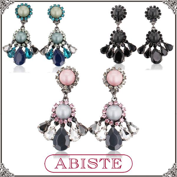 【送料無料】ABISTE(アビステ) イタリア製クリスタルビジューイヤリング/ピンク、ブルー、ブラック 3401175 レディース 女性 人気 上品 大人 かわいい おしゃれ アクセサリー ブランド 誕生日 ギフト プレゼント ラッピング無料