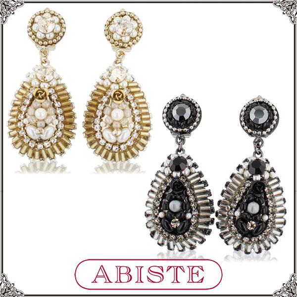 【送料無料】ABISTE(アビステ) イタリア製ドロップビジューイヤリング/ゴールド、ブラック 3401176 レディース 女性 人気 上品 大人 かわいい おしゃれ アクセサリー ブランド 誕生日 ギフト プレゼント ラッピング無料