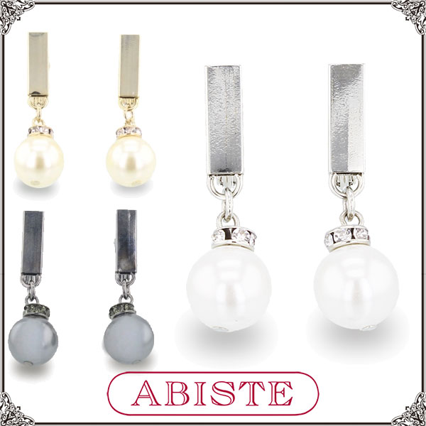 ABISTE (Abbott) Crystal pearl earrings and silver, gold and black 3401325 ladies women popular classy adult cute fashion accessories brand birthday gift gift wrapping free