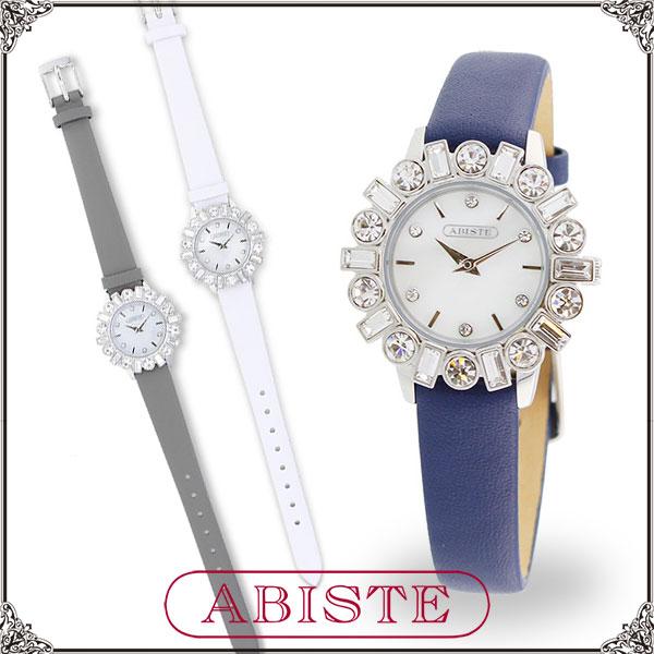 【送料無料】ABISTE(アビステ) ラウンドフェイスチェコクリスタルベルト時計/ホワイト、Dブルー、グレー 9160040S レディース 女性 人気 上品 大人 かわいい おしゃれ アクセサリー ブランド 誕生日 ギフト プレゼント 腕時計 ウォッチ