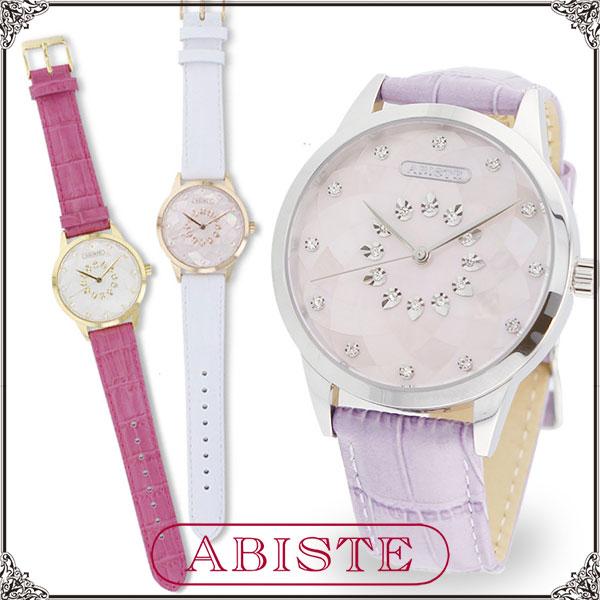 【送料無料】ABISTE(アビステ) モザイクシェルラウンドフェイスベルト腕時計/ホワイト、ピンク、パープル 9160043G/P/S レディース 女性 人気 上品 大人 かわいい おしゃれ アクセサリー ブランド 誕生日 ギフト プレゼント ウォッチ
