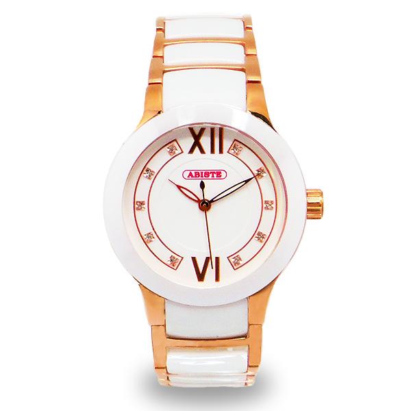 【送料無料】ABISTE(アビステ) セラミックベルト時計/ホワイト 9400018P/W レディース 女性 人気 上品 大人 かわいい おしゃれ アクセサリー ブランド 誕生日 ギフト プレゼント ラッピング無料 腕時計 ウォッチ