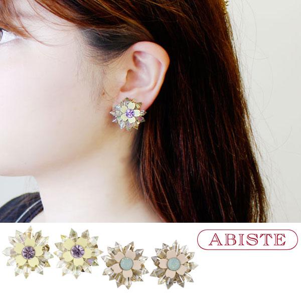 ABISTE(アビステ)イタリア製フラワーモチーフビジューイヤリング 3180111 レディース 女性 人気 上品 大人 かわいい おしゃれ キラキラ アクセサリー ブランド 誕生日 ギフト 30代 40代