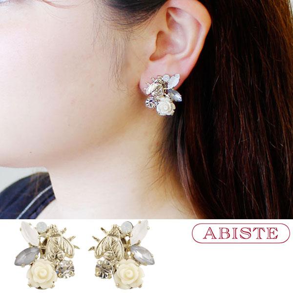 ABISTE(アビステ)イタリア製フラワーモチーフビジューイヤリング 3180113 レディース 女性 人気 上品 大人 かわいい おしゃれ キラキラ アクセサリー ブランド 誕生日 ギフト 30代 40代