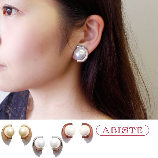 ABISTE(アビステ) マジョルカパールハーフムーンボタンイヤリング 3181105 レディース 女性 人気 上品 大人 かわいい おしゃれ キラキラ アクセサリー ブランド 誕生日 ギフト 30代 41代