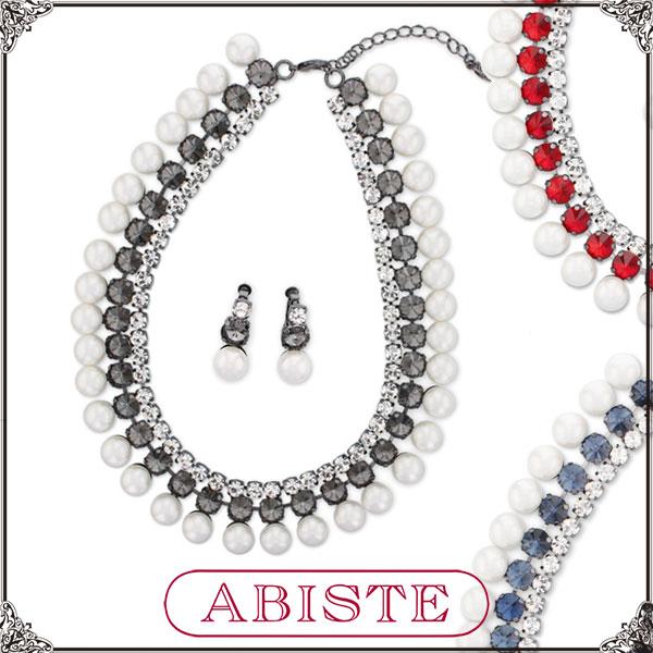 【送料無料】ABISTE(アビステ) クリスタル&パールネックレス&イヤリングセット/ブルー、レッド、ブラック 1401325 レディース 女性 人気 上品 大人 かわいい おしゃれ アクセサリー ブランド 誕生日 ギフト プレゼント ラッピング無料