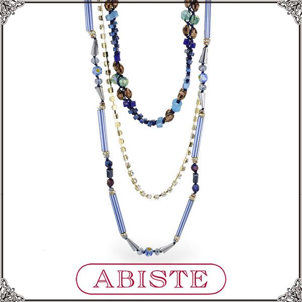 【送料無料】 ABISTE(アビステ) ガラスビジュー3連ロングネックレス/ブルー 1150151 レディース 女性 人気 上品 大人 かわいい おしゃれ アクセサリー ブランド 誕生日 ギフト プレゼント ラッピング無料