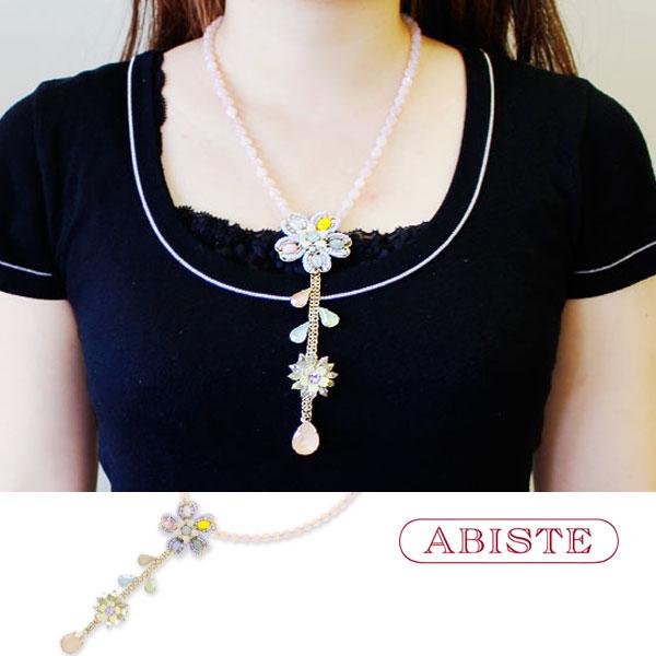 ABISTE(アビステ)イタリア製フラワーモチーフアクリルビジューネックレス 1180194 レディース 女性 人気 上品 大人 かわいい おしゃれ キラキラ アクセサリー ブランド 誕生日 ギフト 30代 40代