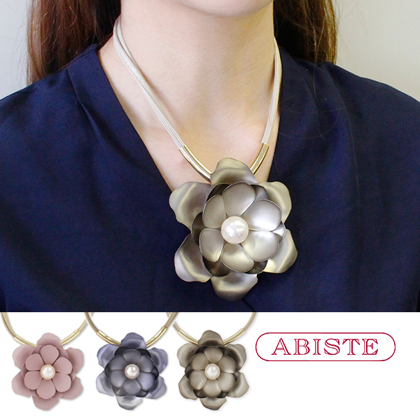 ABISTE(アビステ) フラワーモチーフレザー調デザインネックレス 1181208 レディース 女性 人気 上品 大人 かわいい おしゃれ キラキラ アクセサリー ブランド 誕生日 ギフト 30代 45代