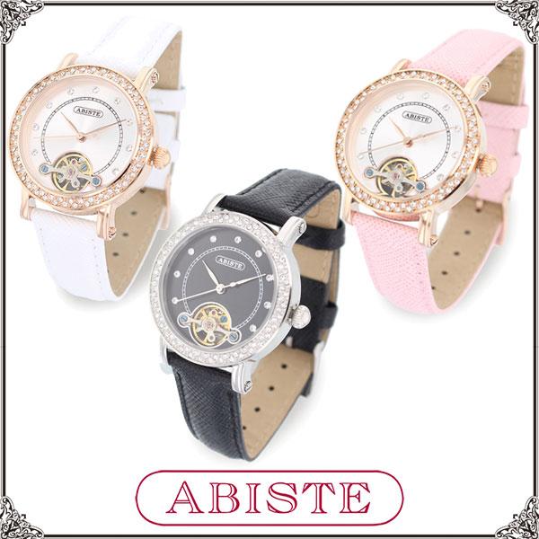 【送料無料】 ABISTE(アビステ) 美的、美ST掲載!ラウンドフェイス機械式腕時計/ホワイト、ピンク、ブラック 9150028 レディース 女性 人気 上品 大人 かわいい おしゃれ アクセサリー ブランド 誕生日 ギフト プレゼント ウォッチ