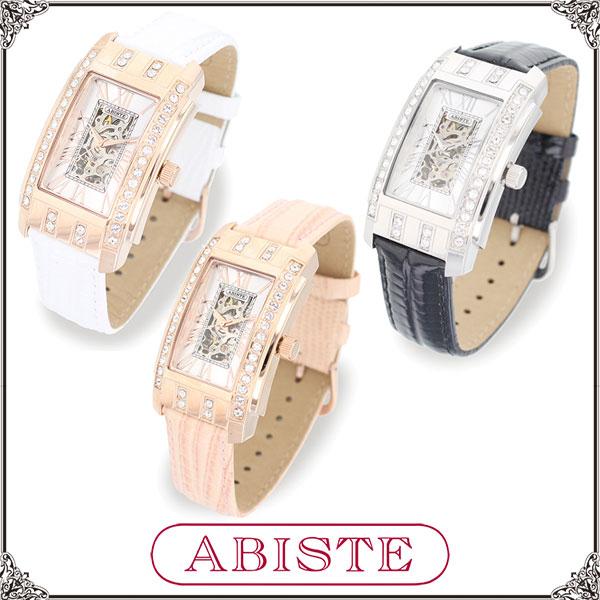 【送料無料】 ABISTE(アビステ) スクエアフェイス機械式ベルト時計/ホワイト、ピンク、ブラック 9150029 レディース 女性 人気 上品 大人 かわいい おしゃれ アクセサリー ブランド 誕生日 ギフト プレゼント ラッピング 腕時計 ウォッチ