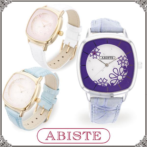 【送料無料】 ABISTE(アビステ) 花柄スクエアフェイスベルト腕時計/ホワイト、Lブルー、ブルー 9150030 レディース 女性 人気 上品 大人 かわいい おしゃれ アクセサリー ブランド 誕生日 ギフト プレゼント ラッピング 腕時計 ウォッチ