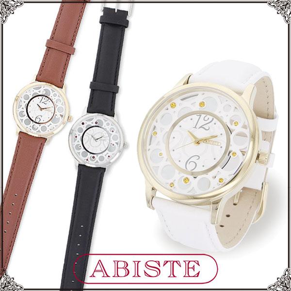 【送料無料】 ABISTE(アビステ) 透かしケースベルト時計/ホワイト、ブラウン、ブラック 9150035 レディース 女性 人気 上品 大人 かわいい おしゃれ アクセサリー ブランド 誕生日 ギフト プレゼント ラッピング無料 腕時計 ウォッチ