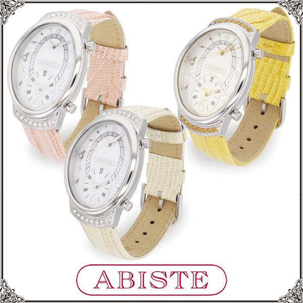 【送料無料】 ABISTE(アビステ) オーバルフェイスデュアルウォッチベルト時計/アイボリー、ピンク、イエロー 9150036 レディース 女性 人気 上品 大人 かわいい おしゃれ アクセサリー ブランド 誕生日 ギフト プレゼント 腕時計 ウォッチ