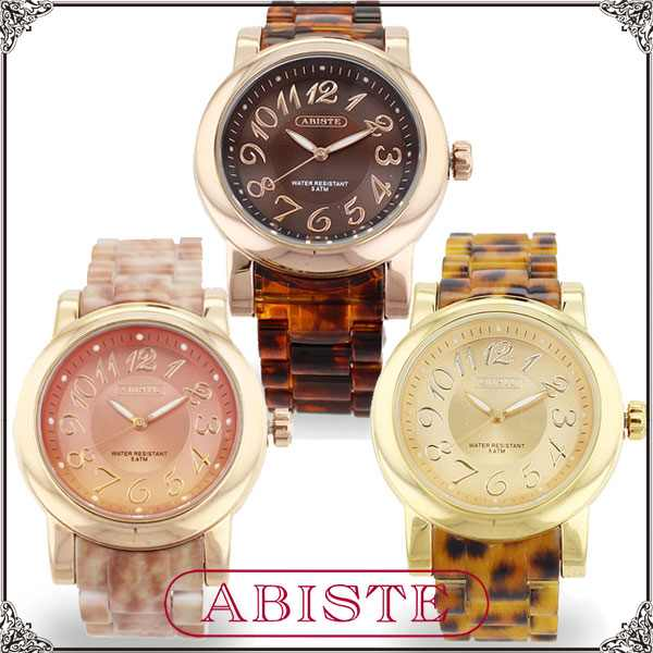 ABISTE(アビステ) ラウンドフェイス時計 ピンク、ヒョウ柄、ベッコウ 9400055 レディース 女性 人気 上品 大人 かわいい おしゃれ アクセサリー ブランド 誕生日 ギフト プレゼント ラッピング 腕時計 ウォッチ