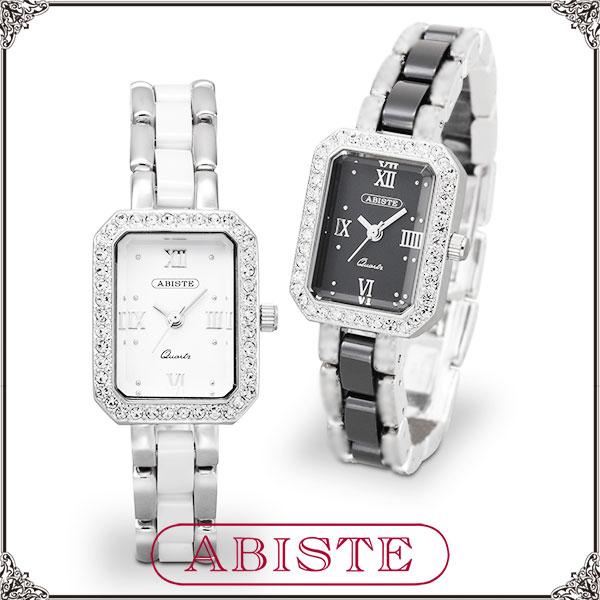 【送料無料】ABISTE(アビステ)スクエアフェイスセラミック時計/ホワイト、ブラック 9000001 レディース 女性 人気 上品 大人 かわいい おしゃれ アクセサリー ブランド 誕生日 ギフト プレゼント ラッピング無料 腕時計 ウォッチ